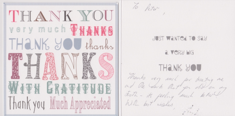Thank you card to Liverpool dentist